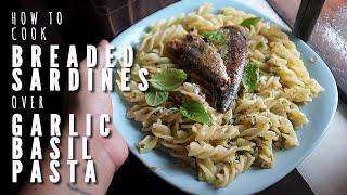 How To Cook Breaded Spanish Sardines Over Garlic Basil Pasta