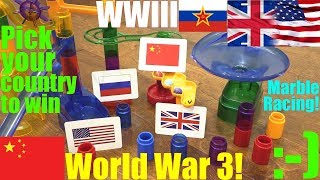 WORLD WAR 3 Marble Racing Elimination Tournament! Racing Toy WWIII Game Time Race #26