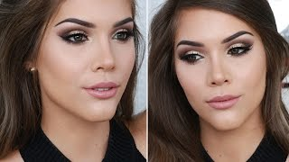 new years eve makeup tutorial  soft gold glitter cut crease winged liner