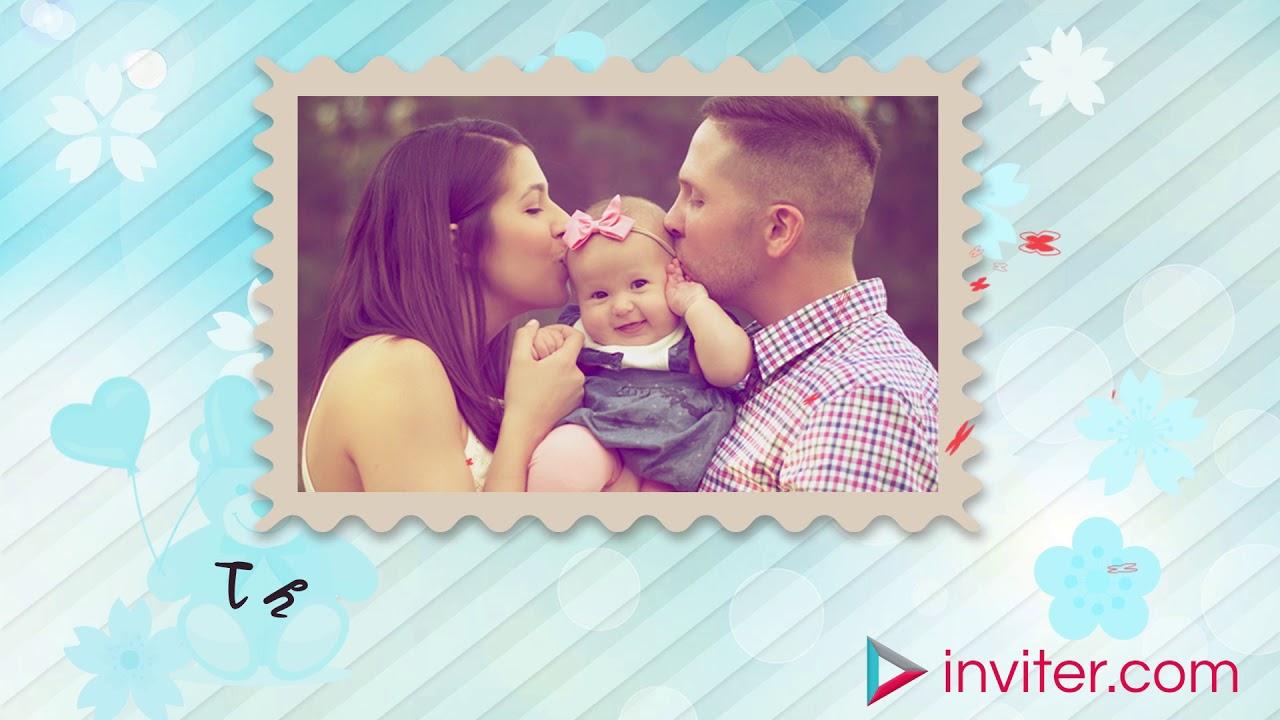 Baby S First Birthday Invitation Video Whatsapp Birthday Invitation Inviter Com