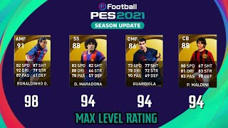 Pes 2021   official 65 legends max level rating 😱🔥