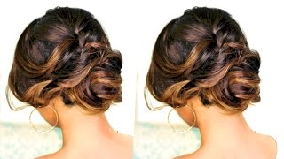 ★ ROMANTIC MESSY BUN UPDO with CURLS Hairstyle | SPRING HAIRSTYLES for Long Medium Hair