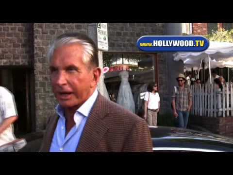 George Hamilton Chats with Paparazzi outside of The Ivy