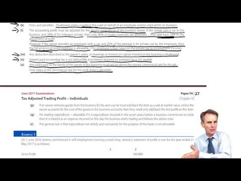 ACCA F6 Tax Adjusted Trading Profit Individuals part 2