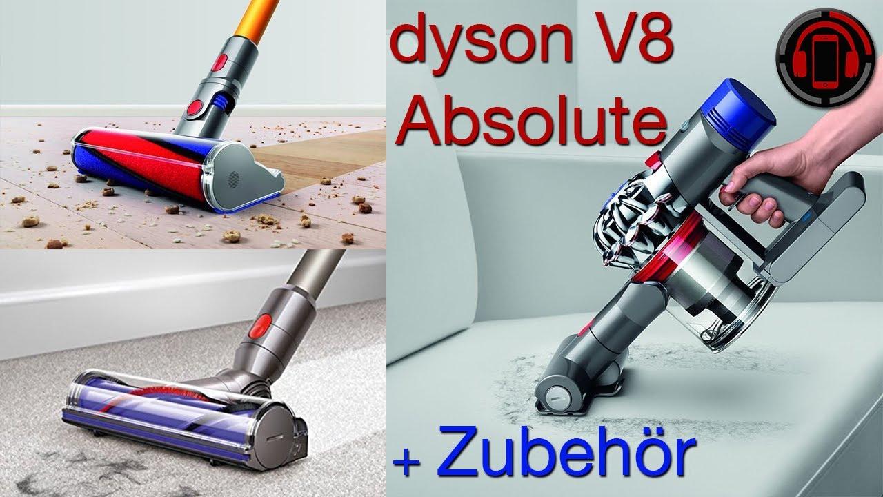 dyson v8 absolute unboxing zubeh r reinigen und leeren. Black Bedroom Furniture Sets. Home Design Ideas