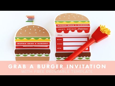 Let's Grab A Burger Invitation | DESIGN IS YAY | Party printable, paper craft, printable template