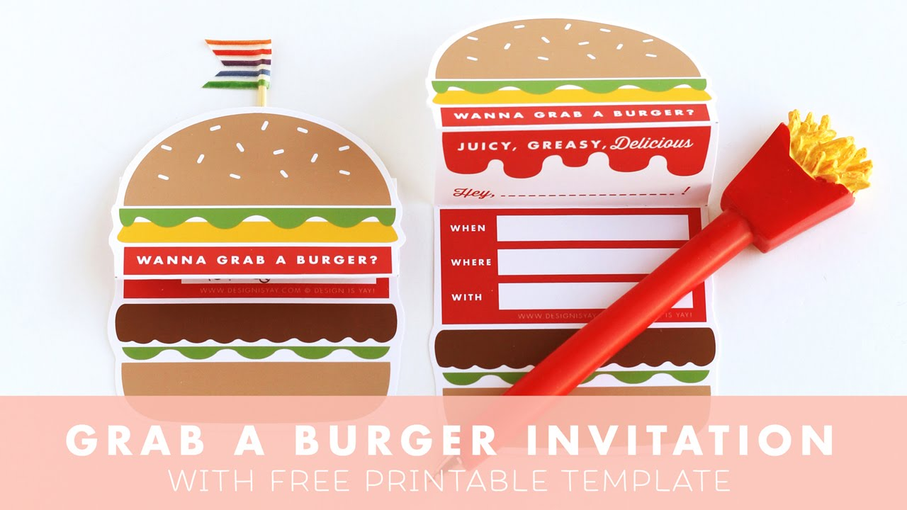 Lets Grab A Burger Invitation Design Is Yay Party Printable