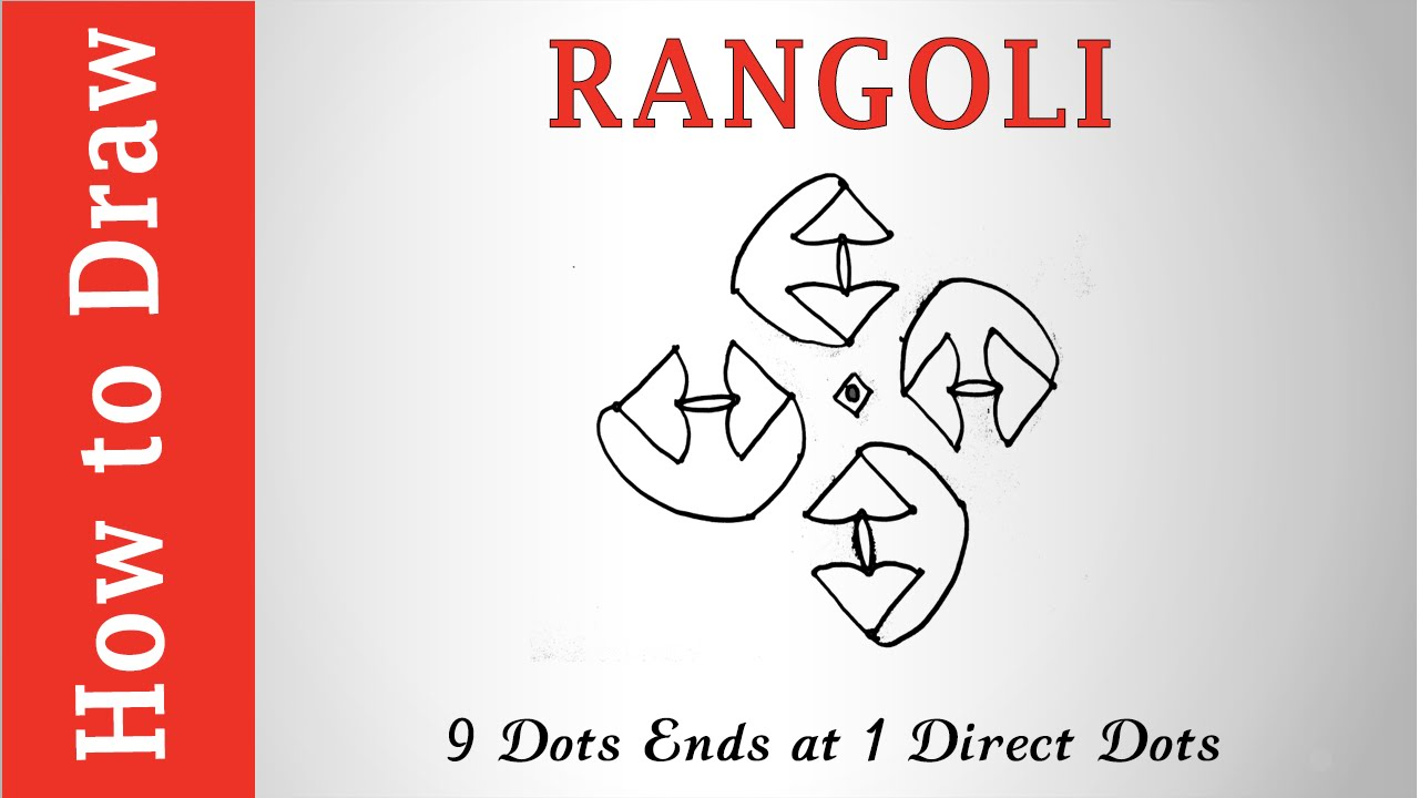rangoli simple designs 9 dots ends at 1 direct dots youtube