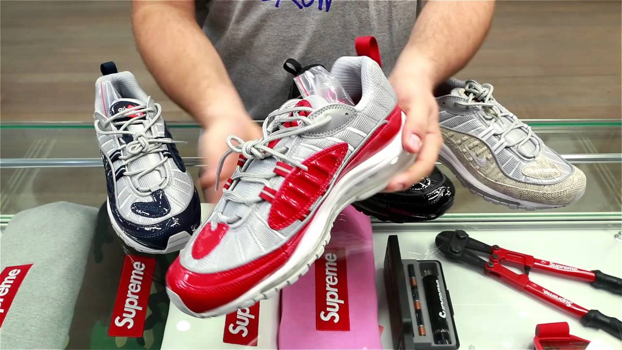 new style 2b676 f9253 REVIEW Supreme x Nike Air Max 98 Pack - YouTube