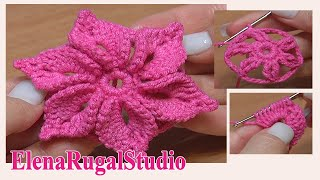 Repeat youtube video Crochet 3D Flower Tutorial 46 Fleur au crochet facile à réaliser