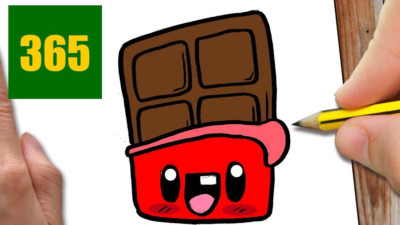 COMMENT DESSINER CHOCOLAT KAWAII ÉTAPE PAR ÉTAPE – Dessins ... - Dessin Tablette De Chocolat