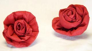 Repeat youtube video Blumen basteln: Rose aus Krepppapier, Feinkrepp basteln... How to make crepe paper roses flowers...