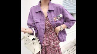 Женская джинсовая куртка с бисером фиолетовая розовая размера плюс верхняя одежда для весны