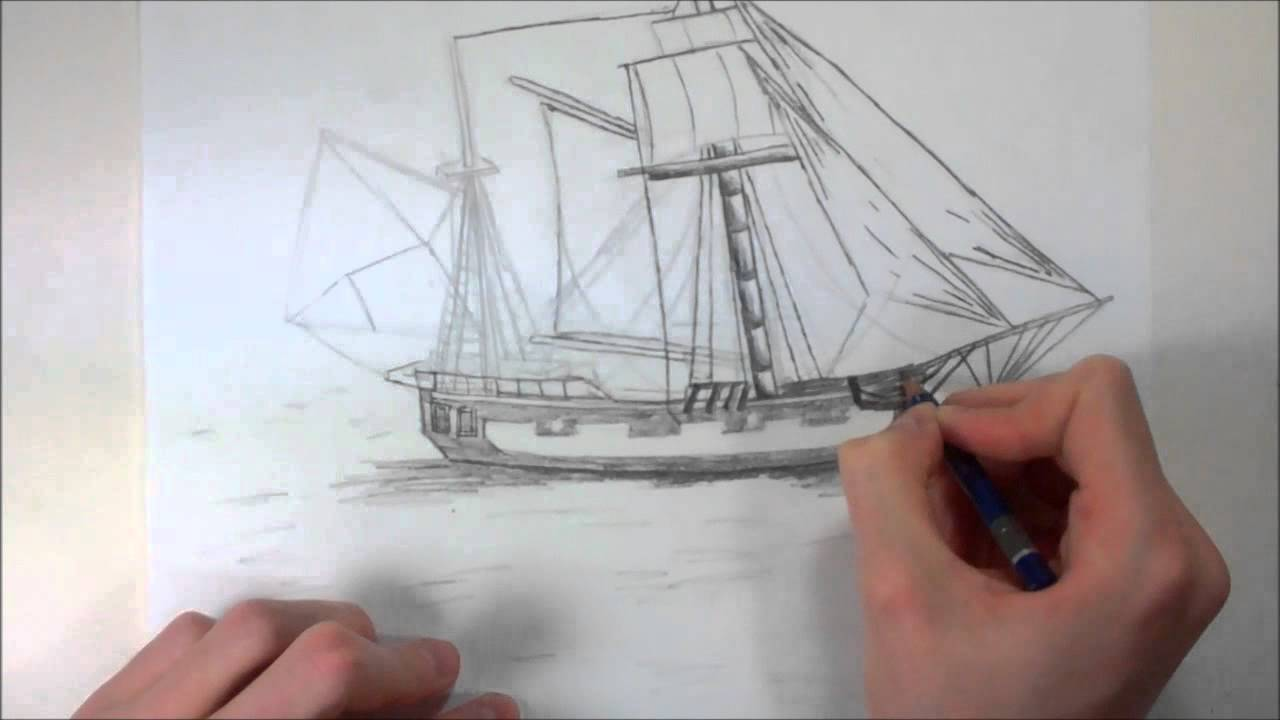 Pusedo realistic pirate ship drawing