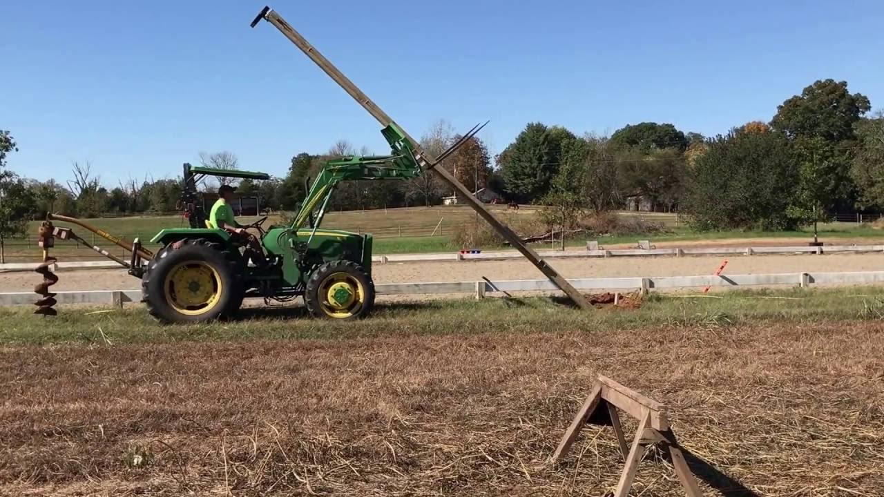 Tractor Boom Pole Lift : Raising light pole with tractor loader youtube