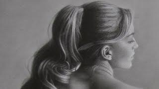 speed drawing figure study, graphite drybrush