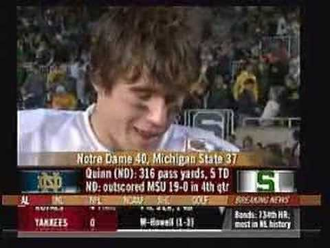Brady Quinn after MSU game