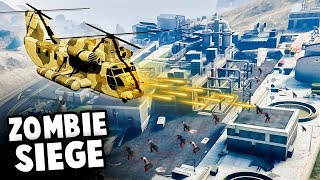 Massive ZOMBIE FORTRESS Siege! RARE HELICOPTER To The Rescue! (GTA 5 World War Z Mod)