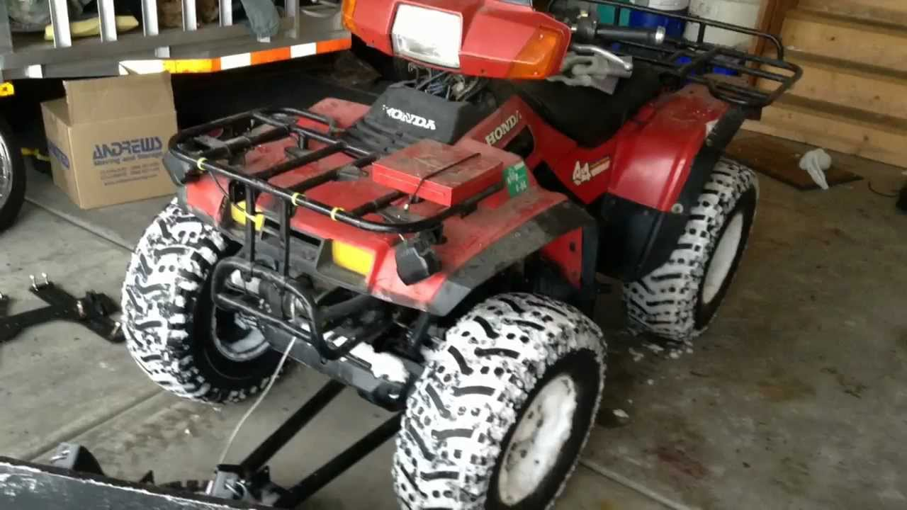 Honda 4 Wheeler >> 1986 Honda Fourtrax 4 x 4 with 48 inch cycle country plow ...