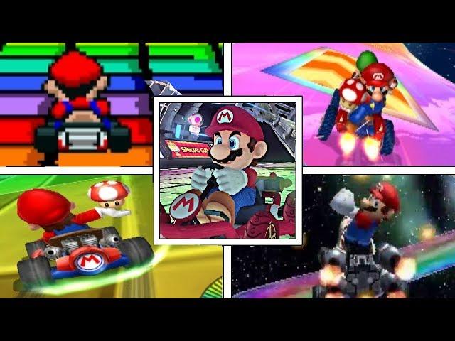 Evolution Of RAINBOW ROAD In Mario Kart Series + Mario Kart Arcade GP (1992-2017)