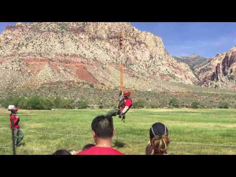 Helicopter rescue demonstration at Spring Mountain near Las Vegas