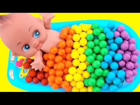 Thumbnail: Learn Colors Bubble Gum Baby Doll Bath Time Learn Colors Play Doh Modeling RL