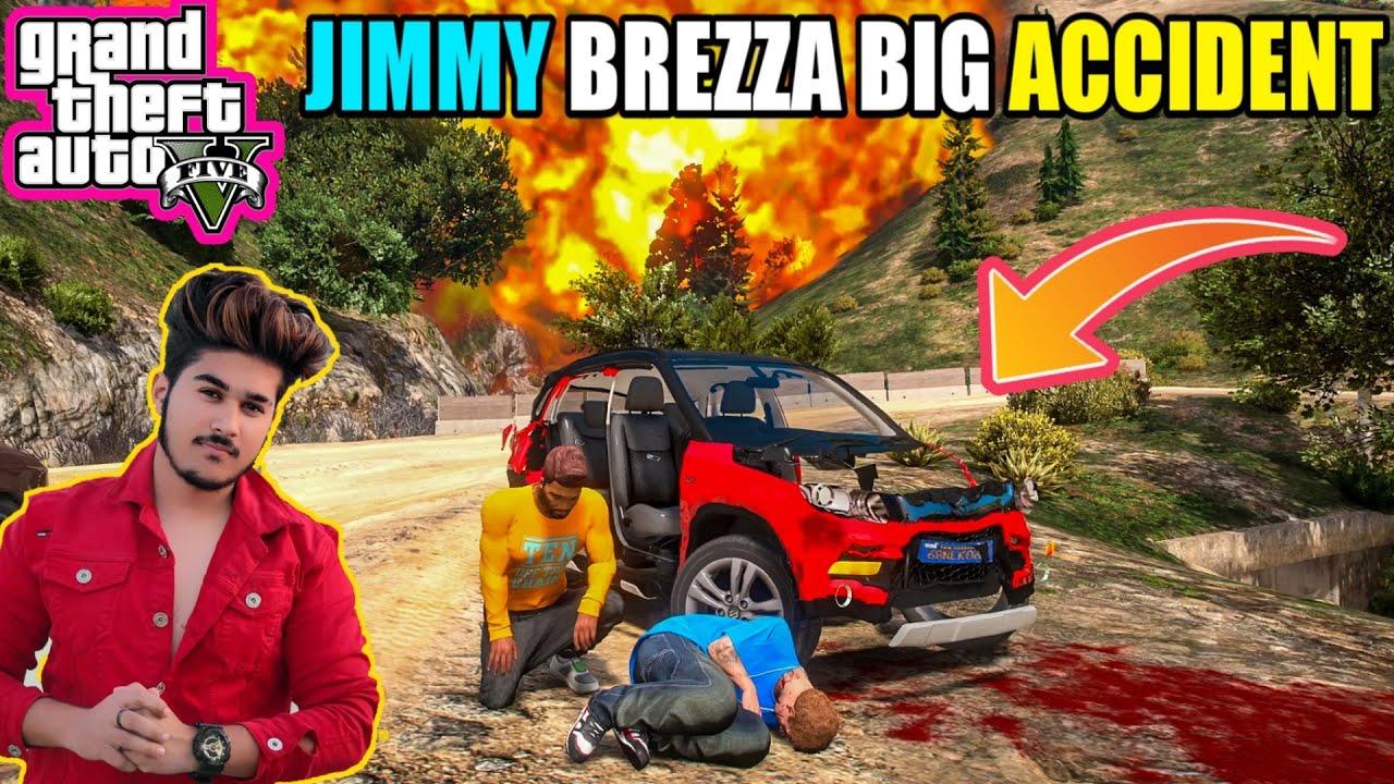 GTA 5 : BIG ACCIDENT WITH MARUTI SUZUKI BREZZA WITH FRANKLIN AND JIMMY