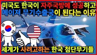 한국이 자주국방에 성공하고 메이져 무기 수출국이 된다는 미국의 전망 이유!  세계에서 러브콜받는 한국의 첨단 무기들