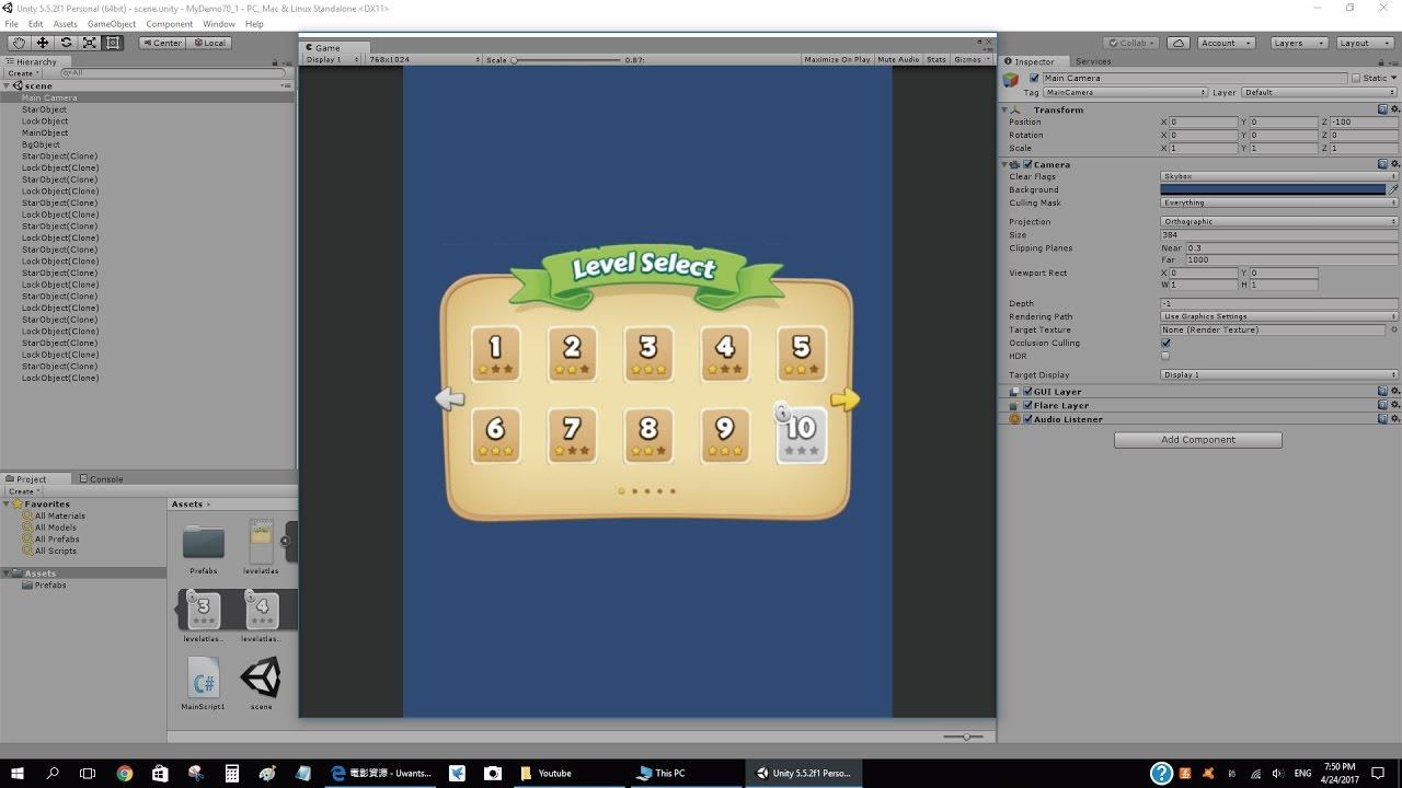 第70節 - Unity: Game Level Selection Screen