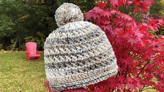 Left Hand: Crochet Hopscotch Texture Hat: All Ages