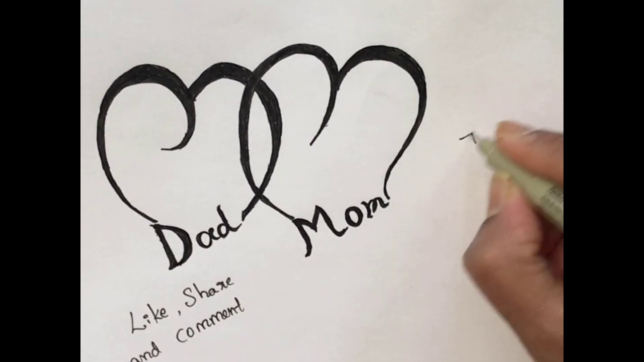 How To Draw Dad And Mom For Tattooing Simple Fathers Day Drawing Youtube