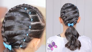 Hairstyle for school | Hairstyle with Elastics | Hairstyles for Girls