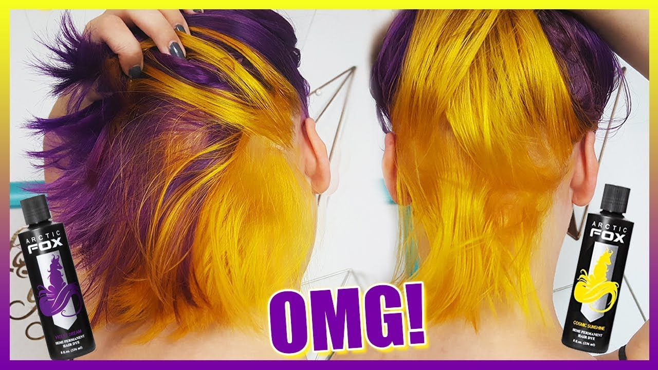 Deep PURPLE & Neon YELLOW Hair Color Tutorial (Using
