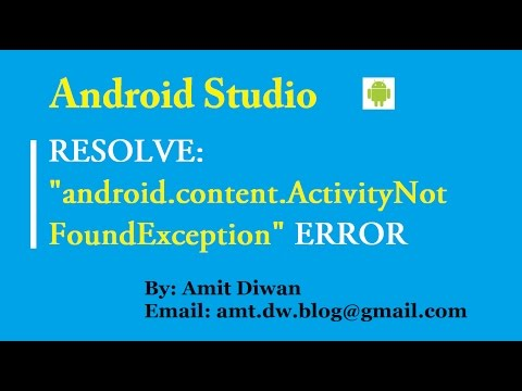 Android- Resolve Unable to Find Explicit Activity Class Error