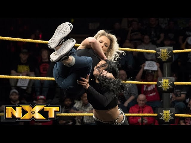 Candice LeRae surprises Zelina Vega during NXT Title Match contract signing: WWE NXT, March 14, 2018