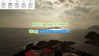Lean on Me by Bill Withers play along with scrolling guitar chords and lyrics