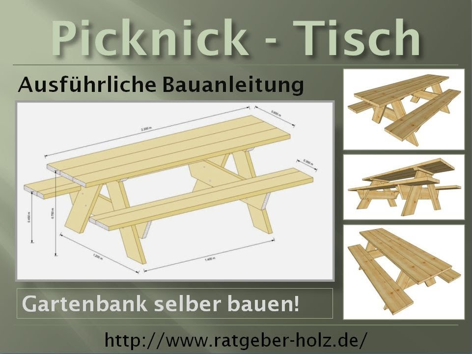einen picknick tisch selber bauen bauanleitung youtube. Black Bedroom Furniture Sets. Home Design Ideas