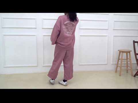 데일리 오버핏 빅사이즈 겨울 여자 기모 트레이닝세트 긴팔티셔츠 긴바지 D1006 - 핑크