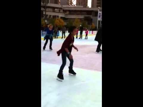 Jiselle ice skating at Embarcadero Center