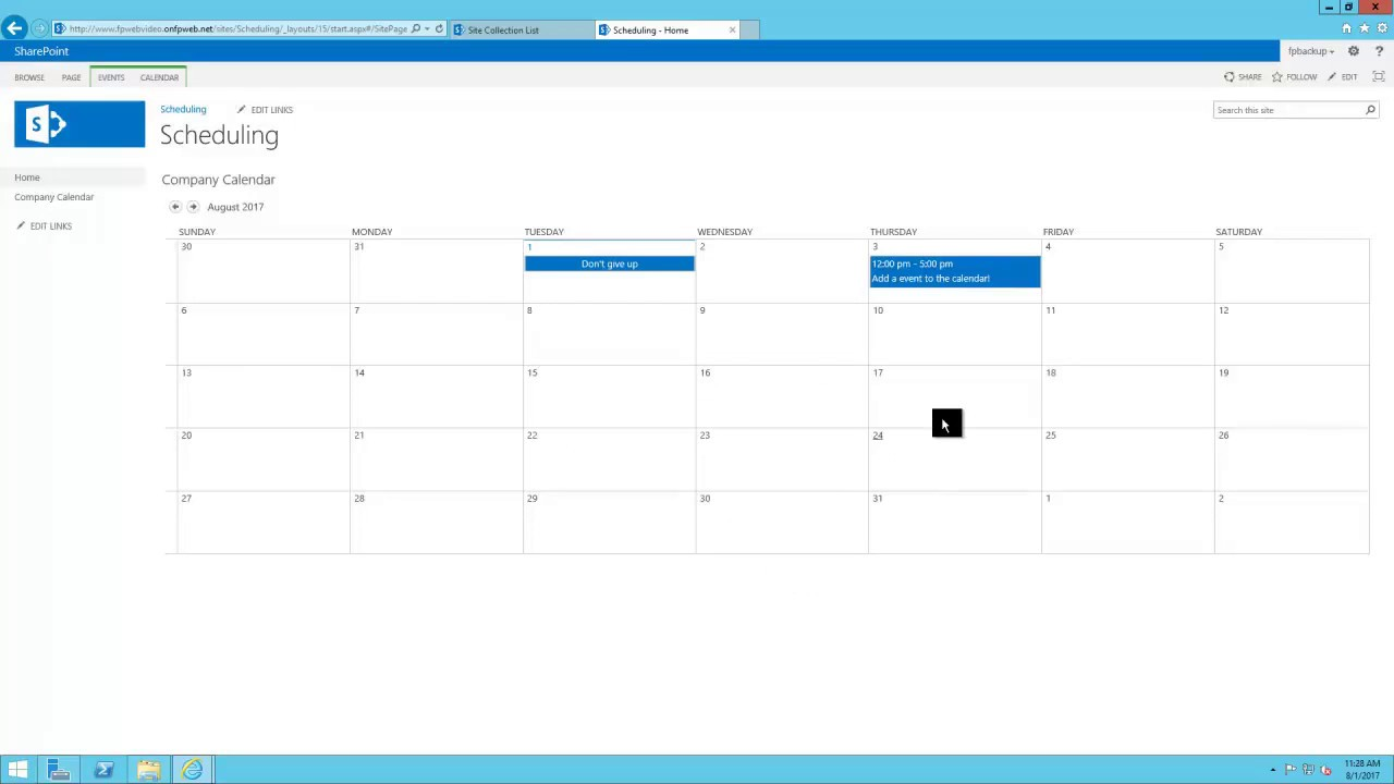 Sharepoint Template Scheduling System