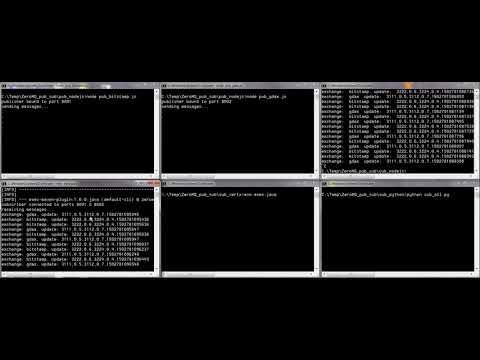 ZeroMQ pub sub DEMO - Node.JS, Python, Java, Vert.x Worker