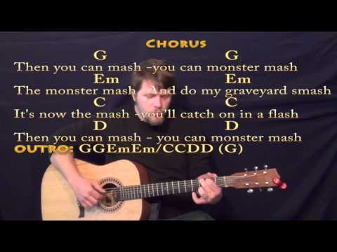 Monster Mash - Fingerstyle Guitar Cover Lesson with Lyrics/Chords