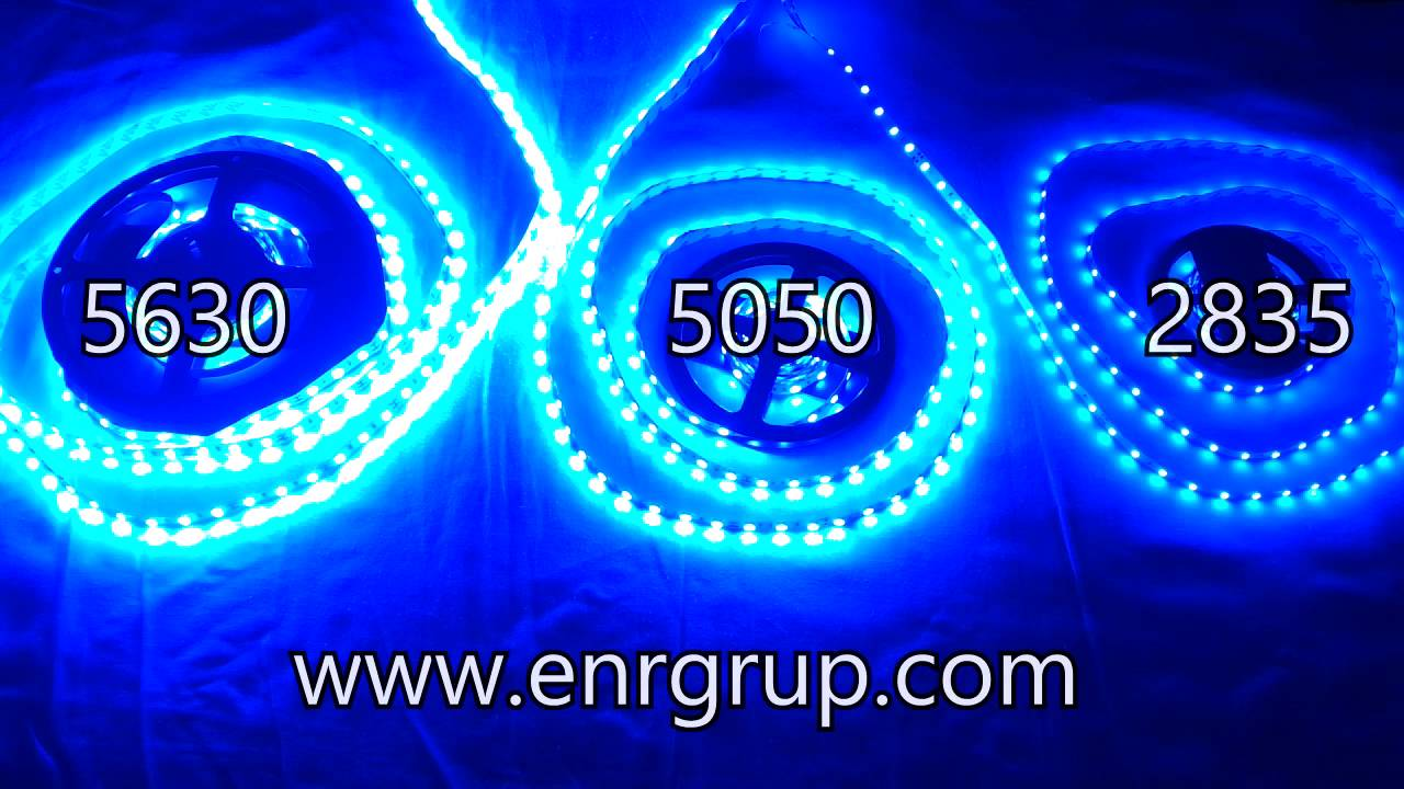 smd led strip 2835 vs 5050 vs 5630 - blue - youtube