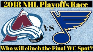 Stanley Cup Playoff Predictions 2018 - Avalanche vs Blues for WC spot?