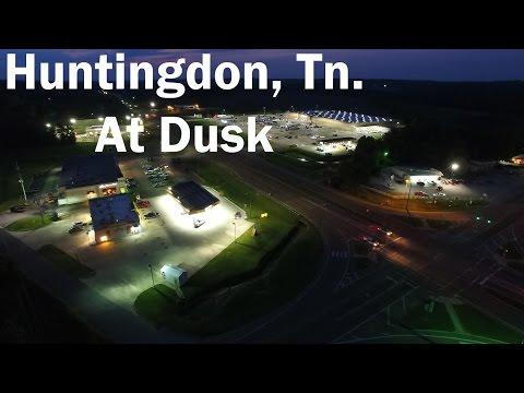Aerial Video - Huntingdon, Tennessee At Dusk
