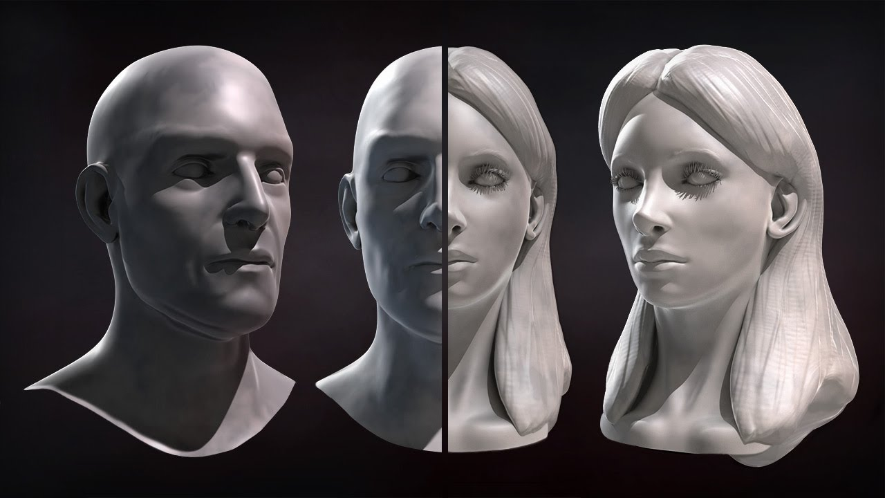 ZBrush Tutorial Now Available: Sculpting Male and Female Faces - YouTube