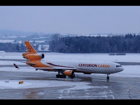 Centurion Cargo MD-11 take off runway 16 at ZRH