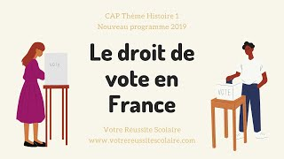 CAP Histoire thème 1: le droit de vote en France