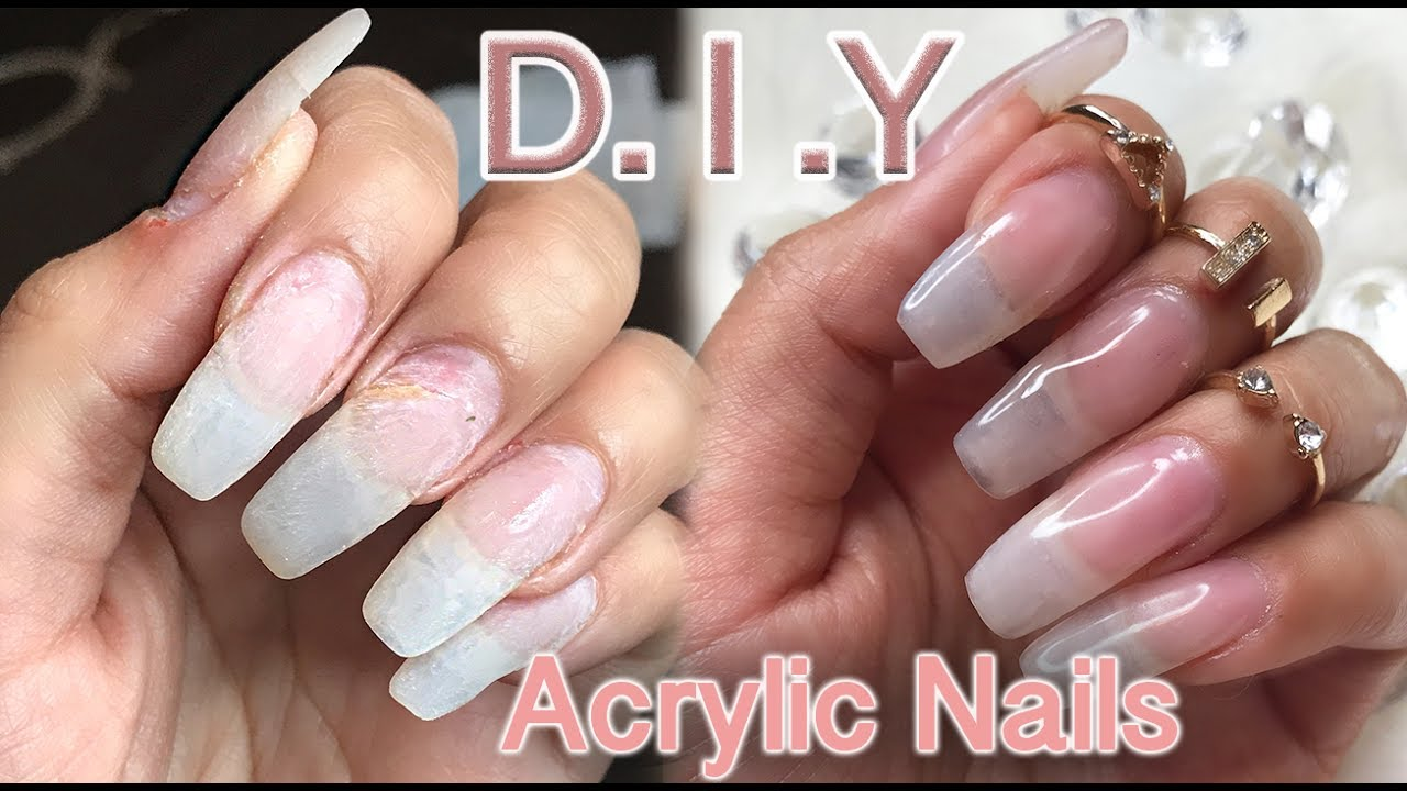 DIY: How I do my Natural looking Acrylic Nails | lilybetzabee - YouTube
