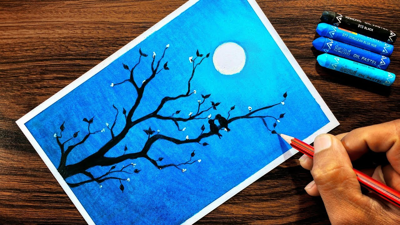 Moonlight Drawing for beginners with Oil Pastel step by ...